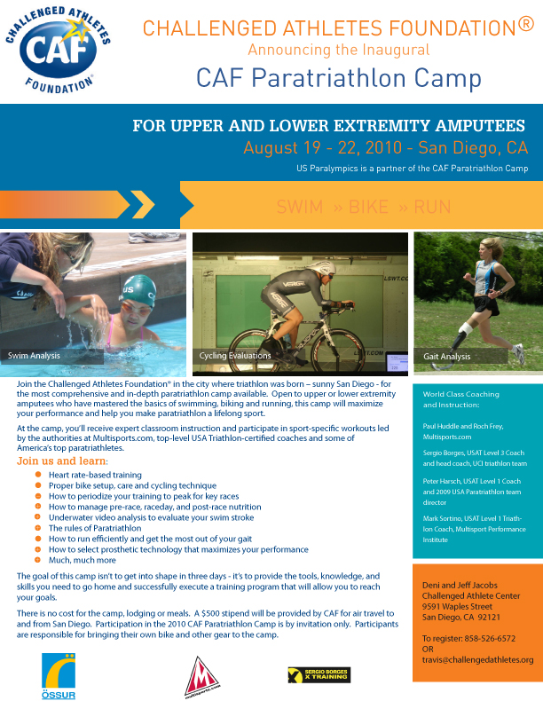 If You Or Anyone Know Is An Amputee Triathlete Even A Relative Beginner And Would Like To Attend This Free Training Camp Please Review The Details On